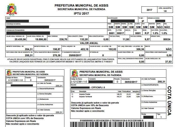 Prefeitura De Assis Carnê De Iptu Veja Como Imprimir Via